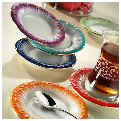 Arte Bianco El Yapımı Naz Turkuaz Çay Tabağı Çay Seti