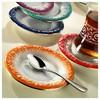 Arte Bianco El Yapımı Naz Turuncu Çay Tabağı Çay Seti