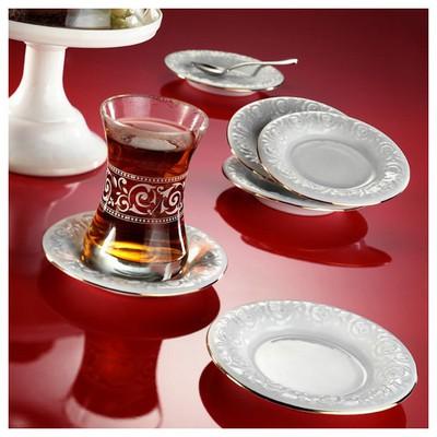 Arte Bianco Naz Çay Tabağı Altın File Çay Seti