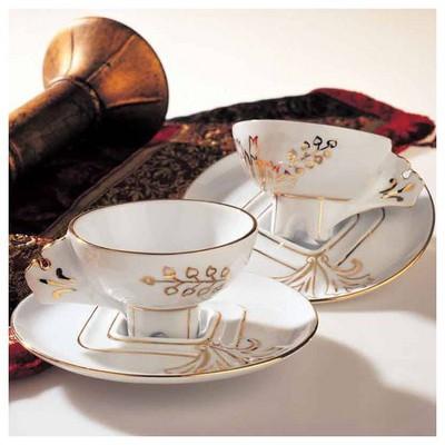 Arte Bianco El Yapımı Iki Kişilik Nazende Gold Kahve Fincan Takımı Çay Seti