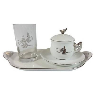 Arte Bianco El Yapımı Swarovski Taşlı Ikram Setli Paşa Kahve Fincan Takımı Çay Seti