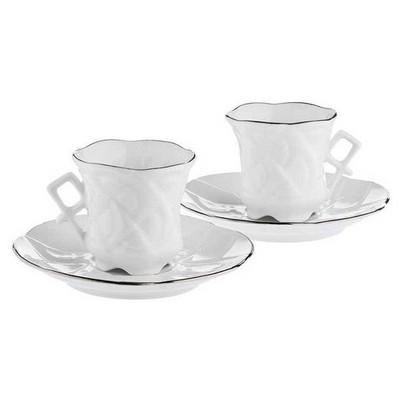Arte Bianco El Yapımı Sarmaşık Ikili Kahve Fincan Seti Çay Seti