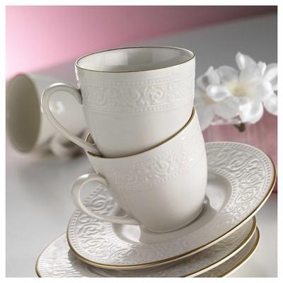 Kütahya Porselen Açelya Krem 6 Kişilik Çay Fincan Takımı Çay Seti