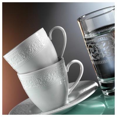 Kütahya Porselen Açelya 6 Kişilik Su Bardaklı Kahve Fincan Takımı Çay Seti
