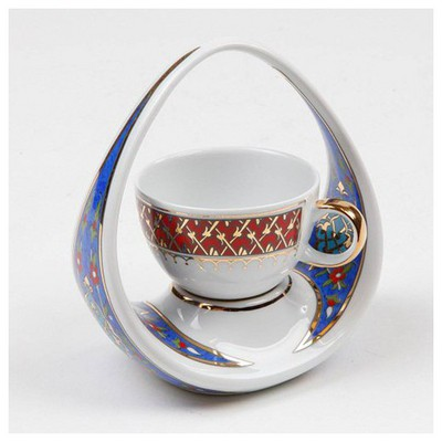 Kütahya Porselen El Yapımı Sepet Kahve Fincanı 1 Çay Seti