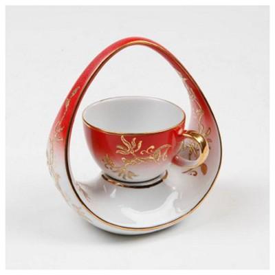 Kütahya Porselen El Yapımı Tek Kişilik Sepet Kahve Fincanı Çay Seti