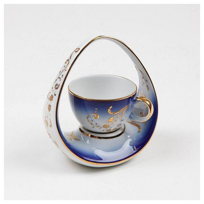 Kütahya Porselen El Yapımı Sepet Kahve Fincanı 2 Çay Seti