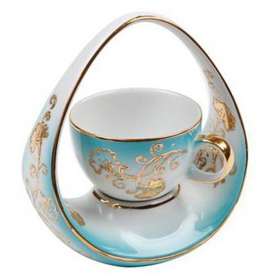 Kütahya Porselen El Yapımık Tek Kişilik Sepet Kahve Fincanı Çay Seti