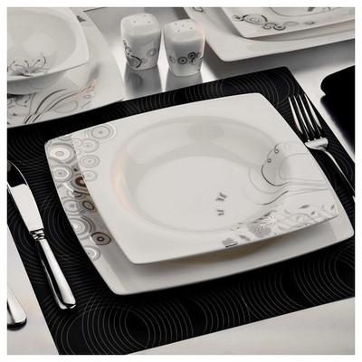 Kütahya Porselen 25106 Aliza Bone 83 Parça Desenli Yemek Takımı