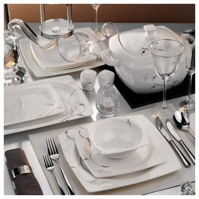 Kütahya Porselen Aliza Bone 83 Parça 25114 Desenli Yemek Takımı