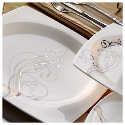 Kütahya Porselen Aliza Bone 83 Parça 25115 Desenli Yemek Takımı