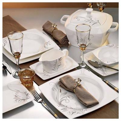 Kütahya Porselen Aliza Bone 83 Parça 25116 Desenli Yemek Takımı