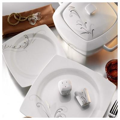 Kütahya Porselen Aliza Bone 83 Parça 25116 Desenli Yemek Takımı Tabak