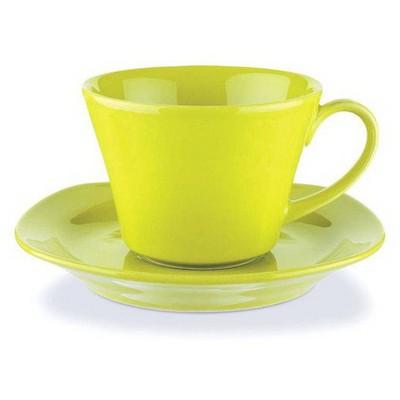 Naturaceram Natura Ceram Asya Yeşil Çay Fincanı Tabaklı Çay Seti