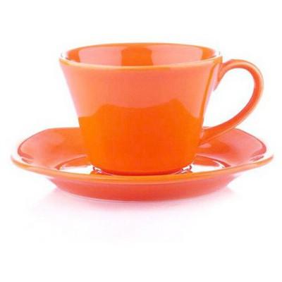 Naturaceram Asya Turuncu Çay Fincanı Tabaklı Çay Seti