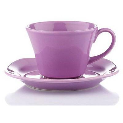 Naturaceram Natura Ceram Asya Lila Çay Fincanı Tabaklı Çay Seti