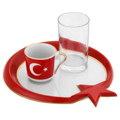 Kütahya Porselen El Yapımı Ay Yıldız Türk Kahve Takımı Çay Seti