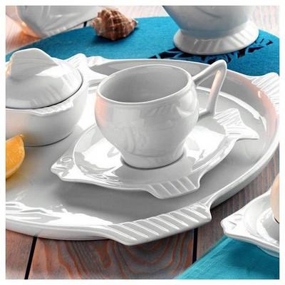 Kütahya Porselen Balık Çay Fincan Ve Tabağı Çay Seti