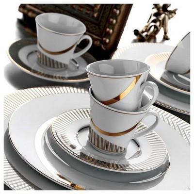 Kütahya Porselen Iris 12 Parça 4699 Desen Kahve Takımı Çay Seti