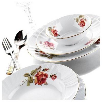 Kütahya Porselen Diana 24 Parça Güllü Yemek Seti Yemek Takımı