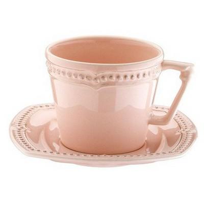 Naturaceram Dot Line Çay Fincanı Tabaklı Eskitme Pembe Çay Seti