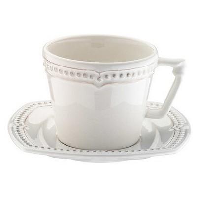Naturaceram Dot Line Çay Fincanı Tabaklı Eskitme Beyaz Çay Seti