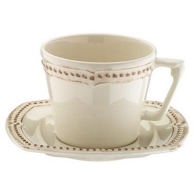 Naturaceram Dot Line Çay Fincanı Tabaklı Eskitme Krem Çay Seti