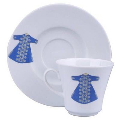 Kütahya Porselen 6 Kişilik Mavi Kaftanlı Kahve Fincan Takımı Çay Seti