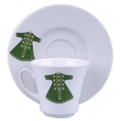 Kütahya Porselen 6 Kişilik Yeşil Kaftanlı Kahve Fincan Takımı Çay Seti