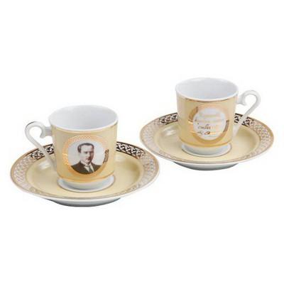 Kütahya Porselen Atatürk Altın Kahve Fincan Takımı Çay Seti