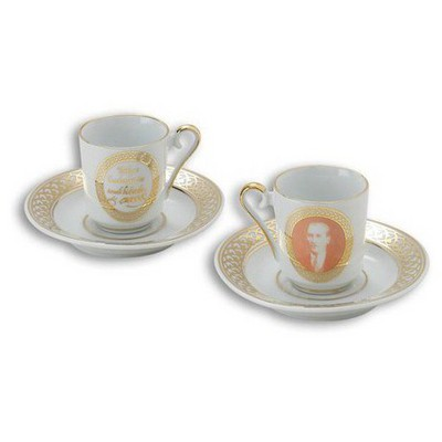Kütahya Porselen Atatürk Beyaz Kahve Fincan Takımı Çay Seti