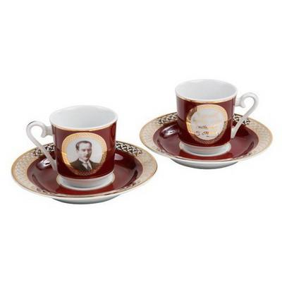 Kütahya Porselen Atatürk Bordo Kahve Fincan Takımı Çay Seti
