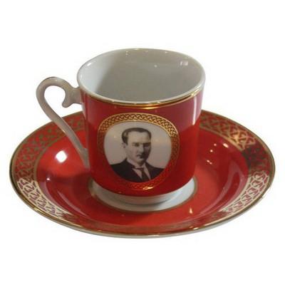 Kütahya Porselen Atatürk Kırmızı Kahve Fincan Takımı Çay Seti
