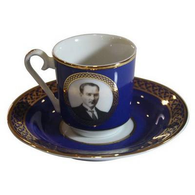 Kütahya Porselen Atatürk Lacivert Kahve Fincan Takımı Çay Seti