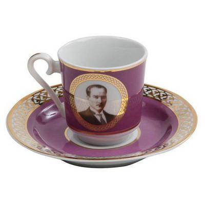 Kütahya Porselen Atatürk Mor Kahve Fincan Takımı Çay Seti