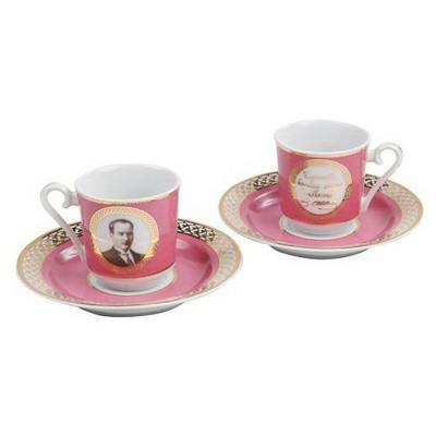 Kütahya Porselen Atatürk Pembe Kahve Fincan Takımı Çay Seti