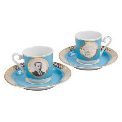 Kütahya Porselen Atatürk Turkuaz Kahve Fincan Takımı Çay Seti