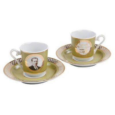 Kütahya Porselen Atatürk Yeşil Kahve Fincan Takımı Çay Seti