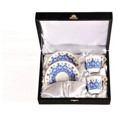 Kütahya Porselen El Yapımı Ottoman 2´li Kahve Fincan Takımı Çay Seti