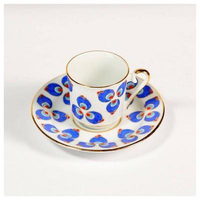 Kütahya Porselen El Yapımı Çintemani 2´li Kahve Fincan Takımı Çay Seti