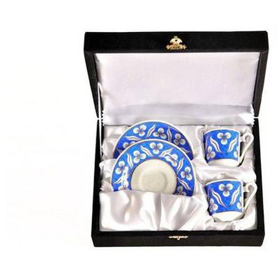 Kütahya Porselen El Yapımı Bantlı Çintemani 2´li Kahve Fincan Takımı Çay Seti