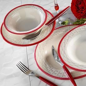 Naturaceram Hasır Kırmızı File 24 Parça Yemek Seti Yemek Takımı