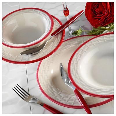 Naturaceram Hasır Kırmızı Fileli Servis Tabağı Servis Gereçleri