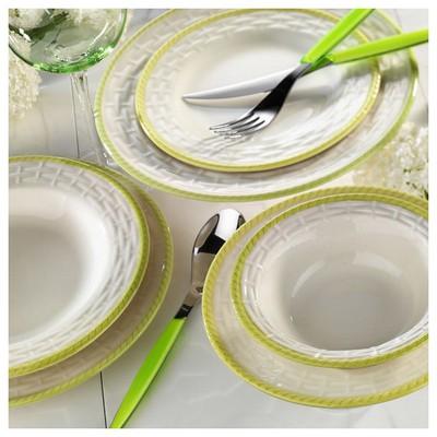 Naturaceram Hasır Yeşil Fileli Servis Tabağı Küçük Mutfak Gereçleri
