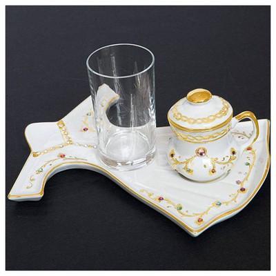 Kütahya Porselen Beyaz El Yapımı Kaftan Kahve Fincan Takımı Çay Seti