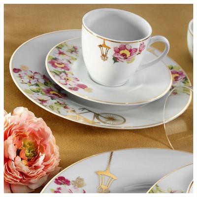 Kütahya Porselen Leonberg 8545 Desen Çay Fincanı Tabaklı Çay Seti
