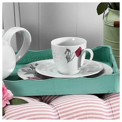 Kütahya Porselen Leonberg 8466 Desen Kahve Fincanı Tabaklı Çay Seti