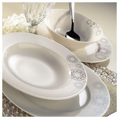 Kütahya Porselen 24 Parça 7327 Desen Krem Yemek Seti Yemek Takımı