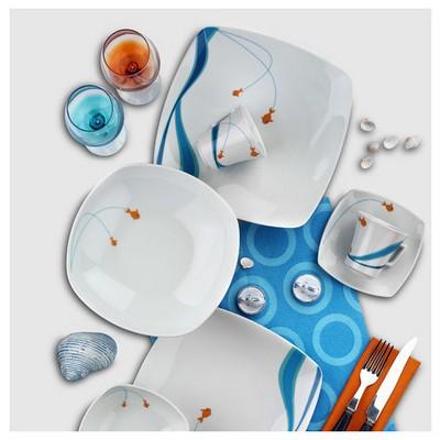 Kütahya Porselen Marin Serisi 5338 Desen Çay Fincanı Tabaklı Çay Seti