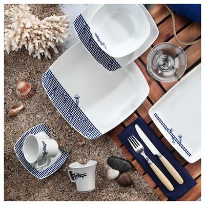 Kütahya Porselen Marin Serisi 5339 Desen Çay Fincanı Tabaklı Çay Seti